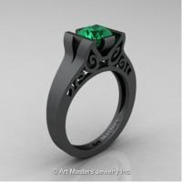 Modern Art Deco 14K Matte Black Gold 1.0 Ct Emerald Engagement Ring R36N-14KMBGEM