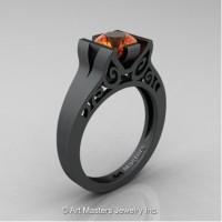 Modern Art Deco 14K Matte Black Gold 1.0 Ct Orange Sapphire Engagement Ring R36N-14KMBGOS