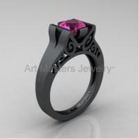 Modern Art Deco 14K Matte Black Gold 1.0 Ct Pink Sapphire Engagement Ring R36N-14KMBGPS