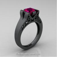 Modern Art Deco 14K Matte Black Gold 1.0 Ct Rose Ruby Engagement Ring R36N-14KMBGRR