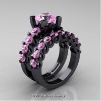 Modern Vintage 14K Black Gold 3.0 Carat Light Pink Sapphire Designer Wedding Ring Bridal Set R142S-14KBGLPS