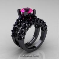 Modern Vintage 14K Black Gold 3.0 Carat Pink Sapphire Black Diamond Designer Wedding Ring Bridal Set R142S-14KBGBDPS