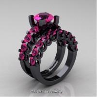 Modern Vintage 14K Black Gold 3.0 Carat Pink Sapphire Designer Wedding Ring Bridal Set R142S-14KBGPS