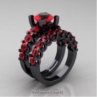 Modern Vintage 14K Black Gold 3.0 Carat Ruby Designer Wedding Ring Bridal Set R142S-14KBGR
