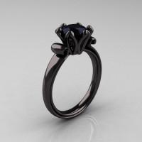 Antique 18K Black Gold 1.5 CT Black Diamond Engagement Ring AR127-18KBGBD