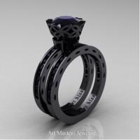 Classic Armenian 14K Black Gold 1.0 Ct Black Diamond Engagement Ring Wedding Band Bridal Set AR140S-14KBGBD