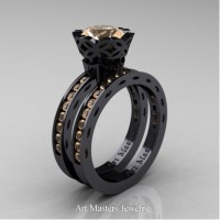 Classic Armenian 14K Black Gold 1.0 Ct Champagne Diamond Engagement Ring Wedding Band Bridal Set AR140S-14KBGCHD