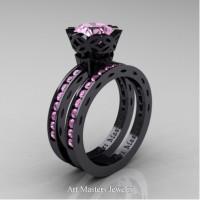 Classic Armenian 14K Black Gold 1.0 Ct Light Pink Sapphire Engagement Ring Wedding Band Bridal Set AR140S-14KBGLPS