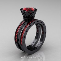 Classic Armenian 14K Black Gold 1.0 Ct Rubies Engagement Ring Wedding Band Bridal Set AR140S-14KBGR