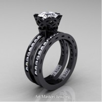 Classic Armenian 14K Black Gold 1.0 Ct White Sapphire Diamond Engagement Ring Wedding Band Bridal Set AR140S-14KBGDWS