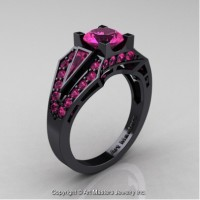 Classic Edwardian 14K Black Gold 1.0 Ct Pink Sapphire Engagement Ring R285-14KBGPS