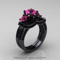 French 14K Black Gold Three Stone Pink Sapphire Black Diamond Engagement Ring Wedding Band Bridal Set R182S-14KBGBDPS