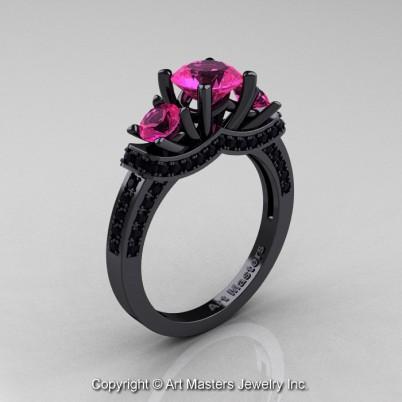 Exclusive-French-14K-Black-Gold-Three-Stone-Pink-Sapphire-Black-Diamond-Engagement-Ring-Wedding-Ring-R182-14KBGBDPS-P-402×402