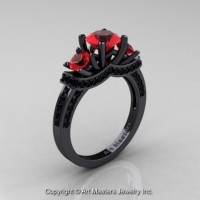 Gorgeous 14K Black Gold Three Stone Ruby Black Diamond Engagement Ring Wedding Ring R182-14KBGBDR