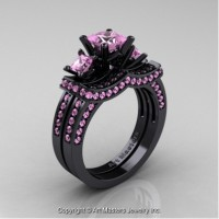 French 14K Black Gold Three Stone Princess Light Pink Sapphire Engagement Ring Wedding Band Bridal Set R183S-14KBGLPS