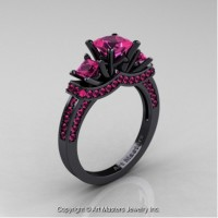 French 14K Black Gold Three Stone Princess Pink Sapphire Engagement Ring R183-14KBGPS