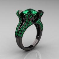 French Vintage 14K Black Gold 3.0 CT Emerald Pisces Wedding Ring Engagement Ring Y228-14KBGEM