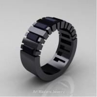 Modern 14K Black Gold Baguette Black Diamond Tank Mens Wedding Ring R395-14KBGBD