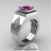 Mens Modern Classic 14K White Gold 2.0 Ct Amethyst Diamond Designer Wedding Ring R338M-14KWGDAM