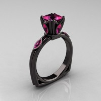 Modern Antique 14K Black Gold 1.20 CT Princess Marquise Pink Sapphire Solitaire Ring R219-14KBGPS