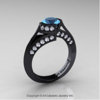 Exclusive French 14K Black Gold 1.0 Ct Blue Topaz Diamond Engagement Ring Wedding Ring R376-14KBGDBT