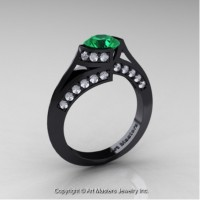 Exclusive French 14K Black Gold 1.0 Ct Emerald Diamond Engagement Ring Wedding Ring R376-14KBGDEM