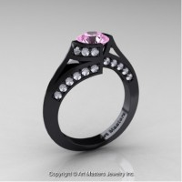 Exclusive French 14K Black Gold 1.0 Ct Light Pink Sapphire Diamond Engagement Ring Wedding Ring R376-14KBGDLPS