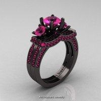 French 14K Black Gold Three Stone Pink Sapphire Engagement Ring Wedding Band Bridal Set R182S-14KBGPS