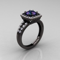 Renaissance Classic 14K Black Gold 1.20 Carat Alexandrite Diamond Engagement Ring R220-14KBGDAL