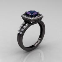 Renaissance Classic 14K Black Gold 1.23 CT Princess Alexandrite Diamond Engagement Ring R220P-14KBGDAL